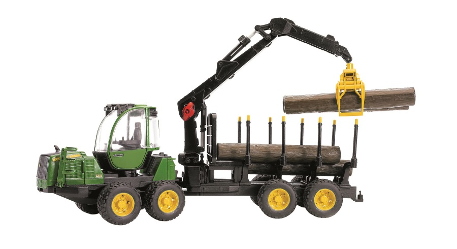 BRUDER Lesnický traktor JOHN DEERE 12010E s přívěsem na dřevo