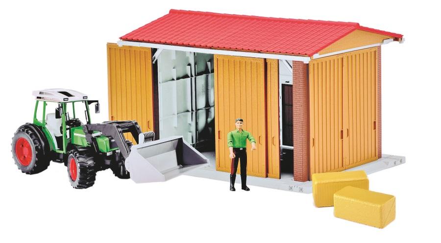 BRUDER BWORLD Sada - stodola+traktor+ figurka+balíky