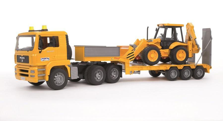 BRUDER Nákladní auto Man s návěsem a traktorm JCB