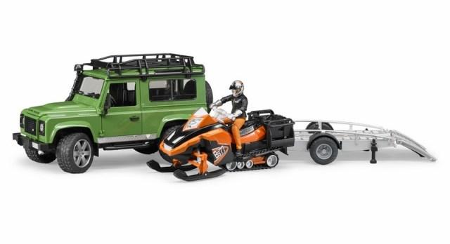 BRUDER - Land Rover s valníkem, sněžným skútrem a figurkou