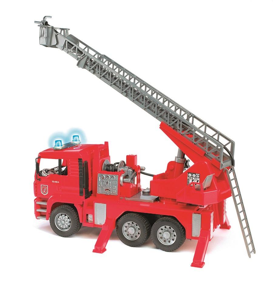 BRUDER Nákladní auto MAN požární s žebříkem a majákem